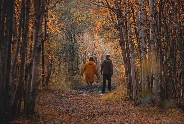 Kaksi henkilöä kävelemässä ruskan keskellä metsässä.