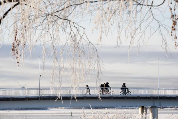 Ihmisiä pyöräilemässä talvella sillalla.